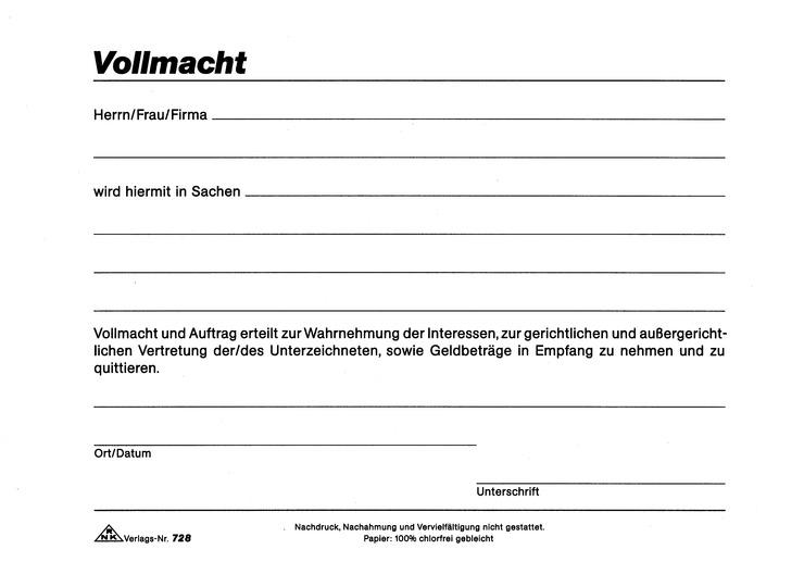 نامهنگاری به زبان آلمانی: وکالت نامه Vollmacht